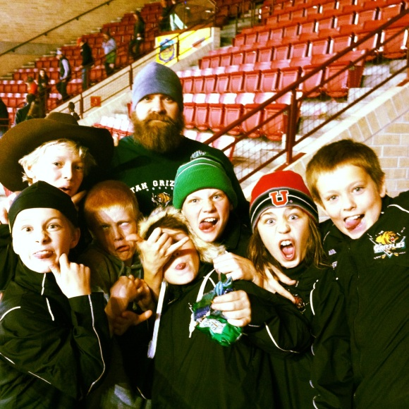 We have another visiting beard to display/celebrate. Meet Mr. Eric Evans from Salt Lake. We met him and his kick ass hockey crew at the DU/Badger hockey game. Eric's been growing this gnarly beard since June. He told his team that he would grow it until they lost....they obviously have yet to lose. He loves that people think he can lift heavy things. He also gave us his secret recipe for his style--he uses Carmex with a touch of saliva for his mustache. Yum!