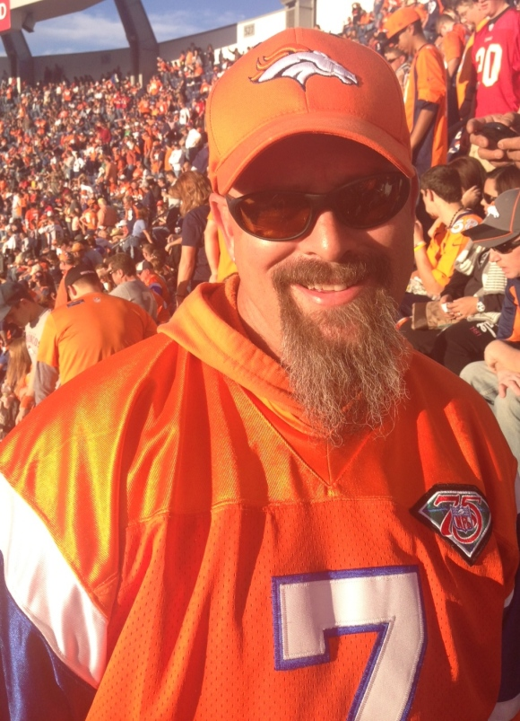 "We encountered Randy and his young son at the Broncos game last weekend. He's a Denver native, a Broncos season ticket holder for eight years, and he honestly can't remember a time when he didn't rock his beard. Randy loves his beard, and shared this wisdom with us, ""When you're a bald man, you grow hair where you can.""  Well done Randy, well done!"