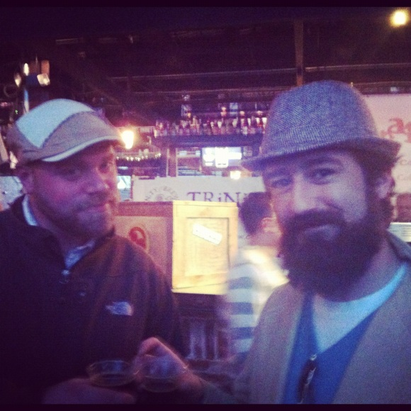 We were lucky enough to happen upon @Moush_Tastic (left) and Gino (right) at the Denver Bacon and Beer Festival on Sunday.  @Moush_Tastic has been in Denver about two years and enjoys changing up his facial hairstyles between the stand alone 'stache and the beard, and Gino's a Denver native who's been growing his beard about two-and-a-half months and will keep it until January, when a trip to Mexico may call for shaving it (we hope he reconsiders, though!) These buddies were thoroughly enjoying the bacon and the beer and their beards added to the fabulousness of the event. Cheers dudes!