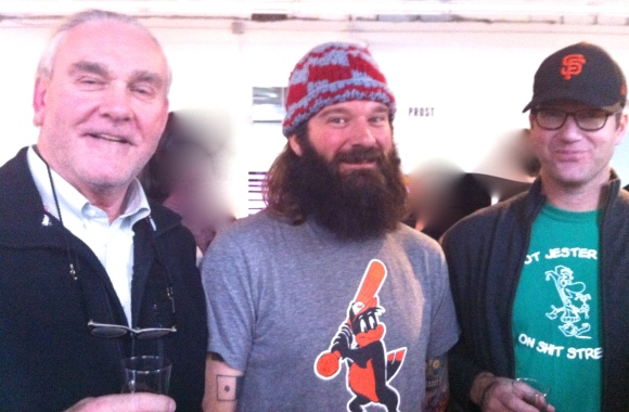 Josh was another beard spotted at the Denver Beer Festivus in Civic Center Park on Sunday.  Pictured with Josh and his amazing beard are his father on the left, who was visiting from Lincoln, Nebraska for the weekend (and beard a striking resemblance to Sean Connery), and Josh's brother on the right, Jarrett, who greatly assisted in Josh's beard interview. We learned Josh has had his beard for the past decade, and has been growing a beard since he was 15 years old.  Jarrett used to have a rockin' beard, too, but because of fear of bird attacks he cut back.  Due to Jarrett's top-notch interviewing skills, we learned that Josh has never been attacked by flying objects because of his beard, but he did recently have a sparrow trapped in his house and it came perilously close to nesting in Josh's fantastic beard.  Luckily, it seems he was left unscathed. But, birds beware: we can't imagine the beard power if all three of these gentlemen grew their beards out!
