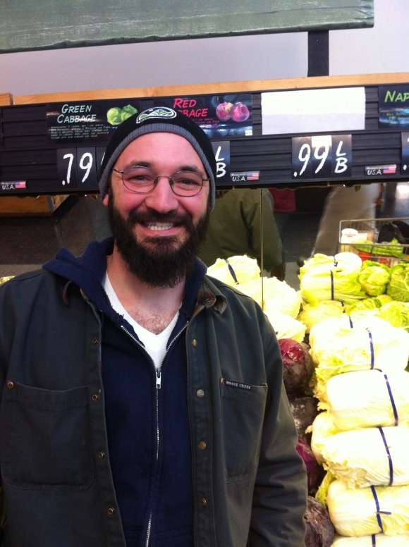 "Sometimes when you go grocery shopping on Sunday afternoon you find a lot better things than bread and milk. We happened upon Phil and his awesome--and healthy--beard in the produce section of Sunflower Market in Highlands. Phil's been growing his beard the past 10 years, and he and five of his buddies recently had a competition to see who could grow the best, most badass beard, but Phil said he sadly lost because he had to trim his beard for a big meeting, as he works for an environmental non-profit. In Phil's words his beard was ""way out of control."" We're thinking we would have approved. Phil's wife loves his beard, and wants him to grow it even longer; she's obviously a very wise woman. We certainly hope Phil grants her request and grows his beard out to its full beard-potential!"