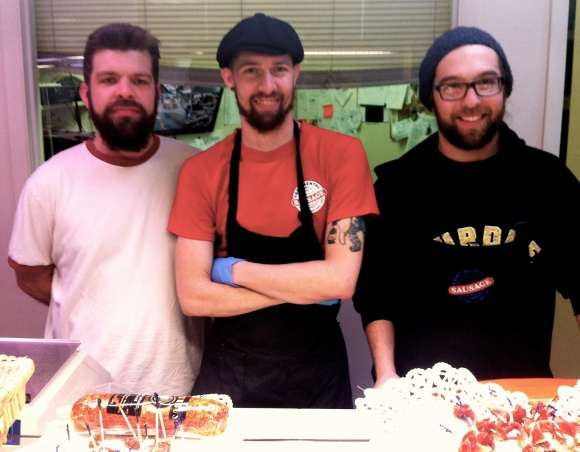 "It's pretty obvious that we ladies of Beads of Denver love a man with an amazing beard; we've laid the groundwork for that not-so-earth-shaking statement. But we also love a good bratwurst. Imagine our delight when we happened into Continental Deli in Cherry Creek on Saturday and not only sampled some amazing sausage, but met three handsome bearded gents working the counter! Meet Sam, Brace and Max (L-R). Sam, a Denver native, has had his beard about 5 months, and keeps it just in the winter months, where it serves him well while he's biking around Denver. Brace, also a Colorado native, has had this version of his beard about 9 months; he described his shaving habits as ""lazy"" thus leading to his facial prowess. Max keeps his heard all year long and before moving to Denver about four years ago he lived in Indiana. Max claimed no one was really a fan of his beard in Indiana but it's much more accepted in out here. We encourage everyone to stop into the deli and say hi to these great guys soon--and take advantage of the sample table! it was divine. Cheers guys!"